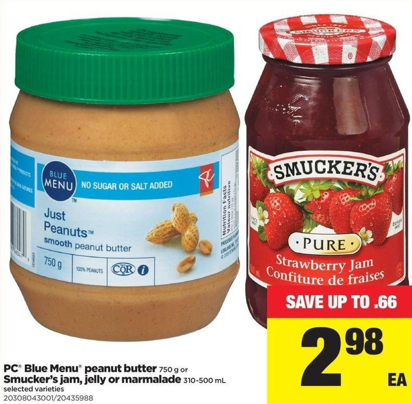 PC Blue Menu Peanut Butter - 750 G Or Smucker's Jam - Jelly Or Marmalade - 310-500 Ml