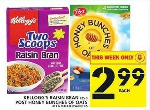 Kellogg's Raisin Bran Or Post Honey Bunches Of Oats