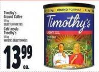 Timothy's Ground Coffee 1.1 Kg