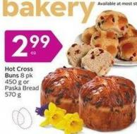 Hot Cross Buns 8 Pk 450 g or Paska Bread 570 g