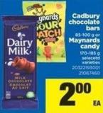 Cadbury Chocolate Bars - 85-100 G Or Maynards Candy - 170-185 G