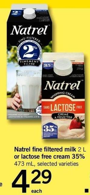 Natrel Fine Filtered Milk 2 L Or Lactose Free Cream 35% 473 Ml