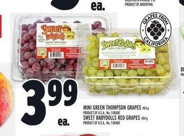 Mini Green Thompson Grapes 454 G Sweet Babydolls Red Grapes 454 G