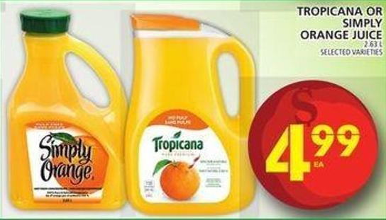 Tropicana Or Simply Orange Juice