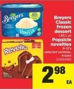 Breyers Classic Frozen Dessert 1.65 L Or Popsicle Novelties 6-12's