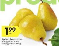 Bartlett Pears Product of Argentina Extra Fancy Grade