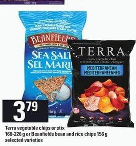 Terra Vegetable Chips or Stix 160-226 g or Beanfields Bean And Rice Chips 156 g