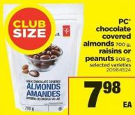 PC Chocolate Covered Almonds - 700 G - Raisins Or Peanuts - 908 G
