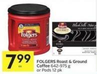 Folgers Roast & Ground Coffee 642-975 g or Pods 12 Pk