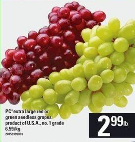 Pcextra Large Red Or Green Seedless Grapes