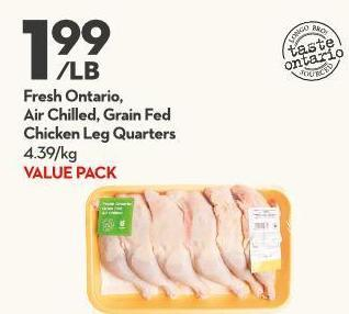 Fresh Ontario -  Air Chilled - Grain Fed Chicken Leg Quarters 4.39/kg