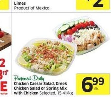 Chicken Caesar Salad - Greek Chicken Salad or Spring Mix With Chicken Selected -