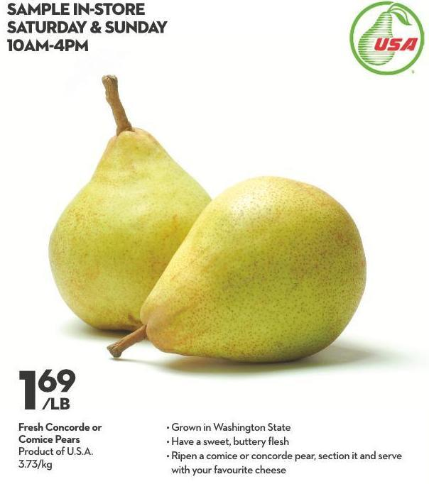 Fresh Concorde or  Comice Pears