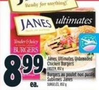Janes Ultimates Unbreaded Chicken Burgers
