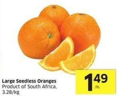 Large Seedless Oranges Product of South Africa - 3.28/kg