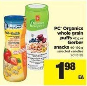 PC Organics Whole Grain Puffs 42 G Or Gerber Snacks 40-192 G