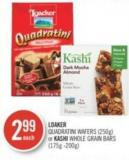 Loaker Quadratini Wafers (250g) or Kashi Whole Grain Bars (175g -200g)