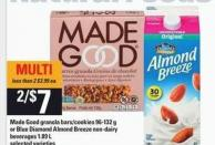 Made Good Granola Bars/cookies 96-132 G Or Blue Diamond Almond Breeze Non-dairy Beverages 1.89 L