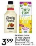 Earth's Own So Nice Organic or Sofresh Oat Beverages 1.75 L or Simply Almond 1.5 L