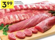 Pork Back Ribs or Value Size Pork Tenderloin