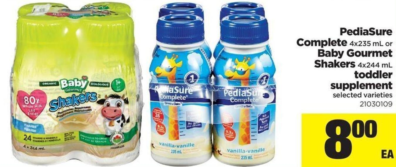 Pediasure Complete 4x235 Ml Or Baby Gourmet Shakers 4x244 Ml Toddler Supplement