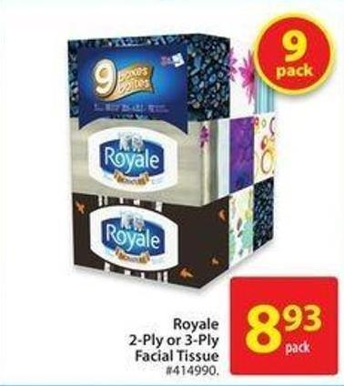 Royale 2-ply or 3-ply Facial Tissue