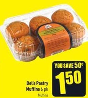 Del's Pastry Muffins 6 Pk