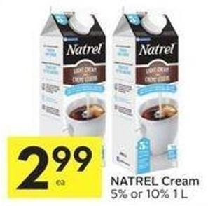 Natrel Cream 5% or 10% 1 L