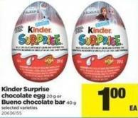 Kinder Surprise Chocolate Egg - 20 g Or Bueno Chocolate Bar - 40 g