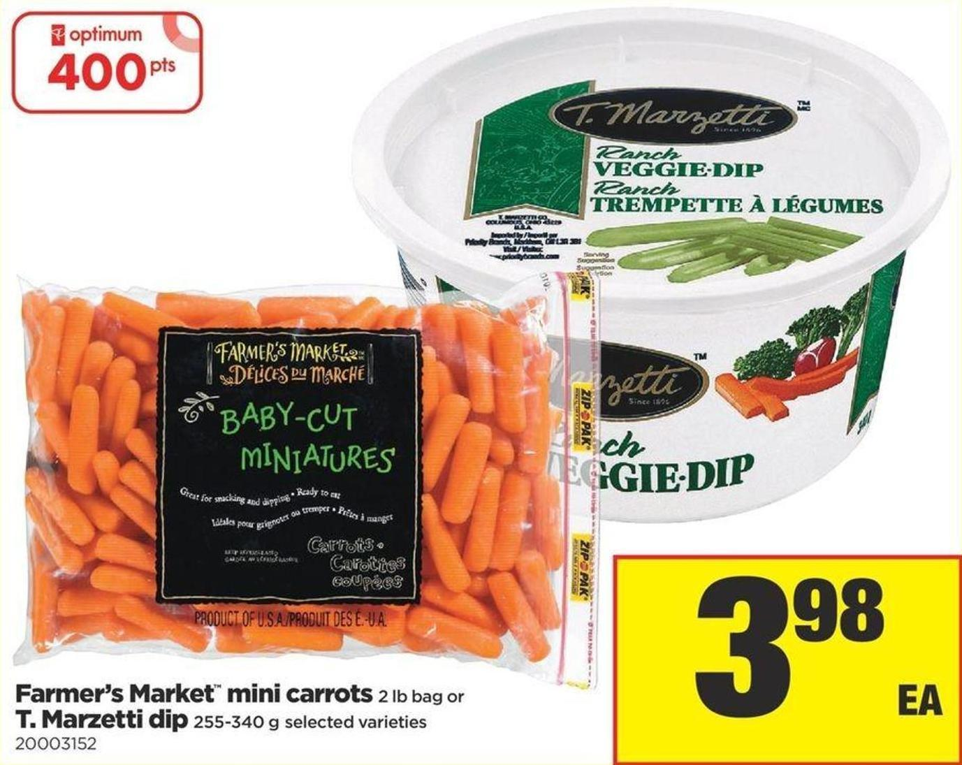Farmer's Market Mini Carrots - 2 Lb Bag or T. Marzetti Dip - 255-340 g
