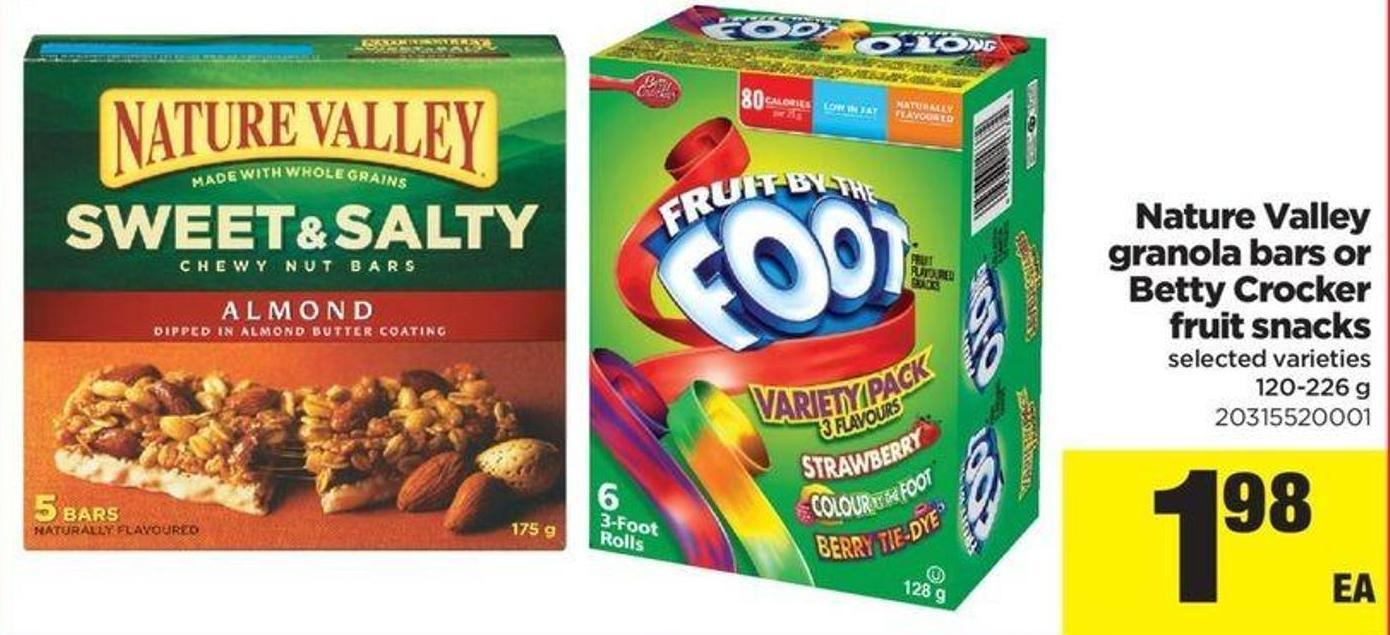 Nature Valley Granola Bars Or Betty Crocker Fruit Snacks - 120-226 G