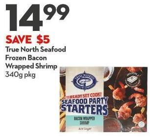 True North Seafood Frozen Bacon Wrapped Shrimp 340g Pkg