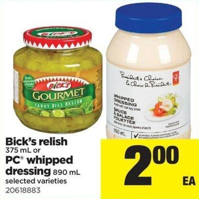 Bick's Relish - 375 Ml Or PC Whipped Dressing - 890 Ml