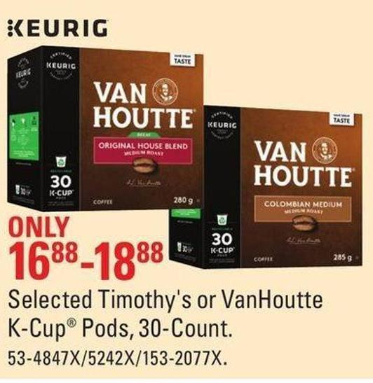 Selected Timothy's or Vanhoutte K-cup Pods - 30-count