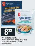 PC Smoked Salmon 150 G Or Pacific Large White Shrimp - Raw Peeled 31-40 Per Lb Frozen 400 G Frozen