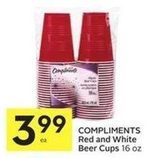 Compliments Red and White Beer Cups