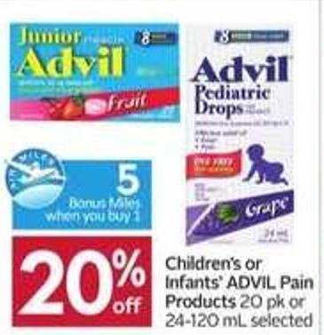 Children's or Infants' Advil Pain Products- 5 Air Miles Bonus Miles