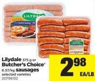 Lilydale 375 G Or Butcher's Choice 6.57/kg Sausages