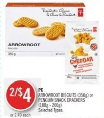 PC Arrowroot Biscuits (350g) or Penguin Snack Crackers (180g - 200g)