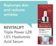 L'oréal Revitalift Triple Power Lzr 1.5% Hyaluronic Acid Serum