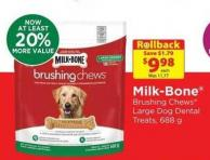 Milk-bone Brushing Chews Large Dog Dental Treatsrollback