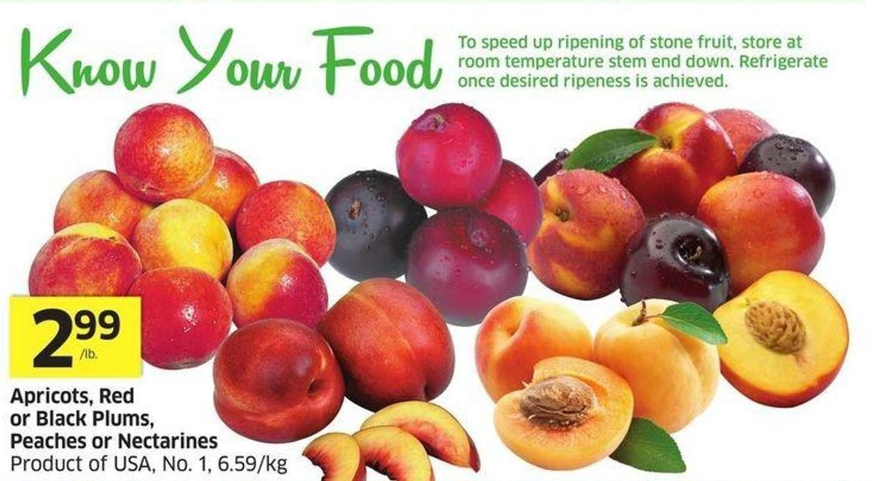 Apricots - Red or Black Plums - Peaches or Nectarines Product of USA - No. 1 - 6.59/kg