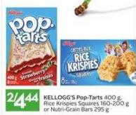 Kellogg's Pop-tarts 400 g - Rice Krispies Squares 160-200 g or Nutri-grain Bars 295 g