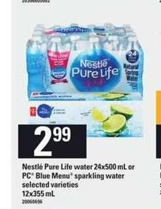 Nestle Pure Life Water 24x500 Ml Or PC Blue Menu Sparkling Water - 12x355 Ml