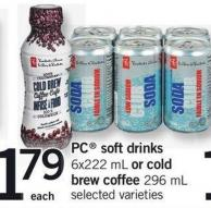 PC Soft Drinks - 6x222 Ml Or Cold Brew Coffee - 296 Ml