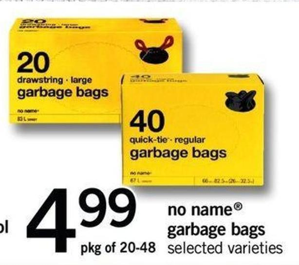 No Name Garbage Bags - Pkg Of 20-48