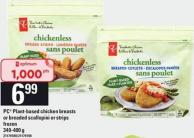 PC Plant-based Chicken Breasts Or Breaded Scallopini Or Strips - 340-400 g