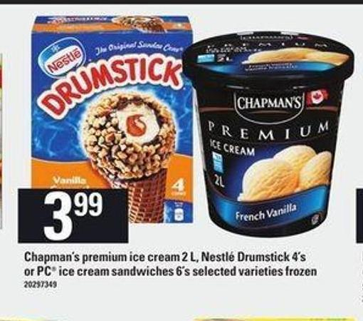Chapman's Premium Ice Cream - 2 L - Nestlé Drumstick - 4's Or PC Ice Cream Sandwiches - 6's