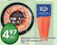 Irresistibles Pacific White Shrimp Ring Or High Liner Salmon Sides
