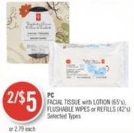 PC Facial Tissue With Lotion (65's) - Flushable Wipes or Refills (42's)